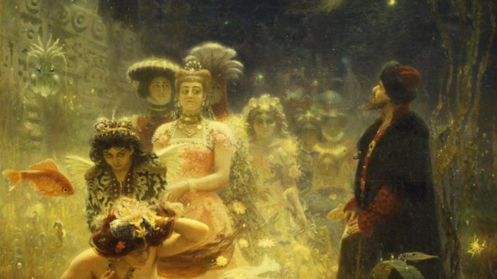 Yksityiskohta Ilja Repinin teoksesta Sadko vedenalaisessa valtakunnassa