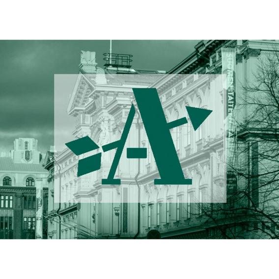 Ateneumin ystävien logo vihreällä pohjalla