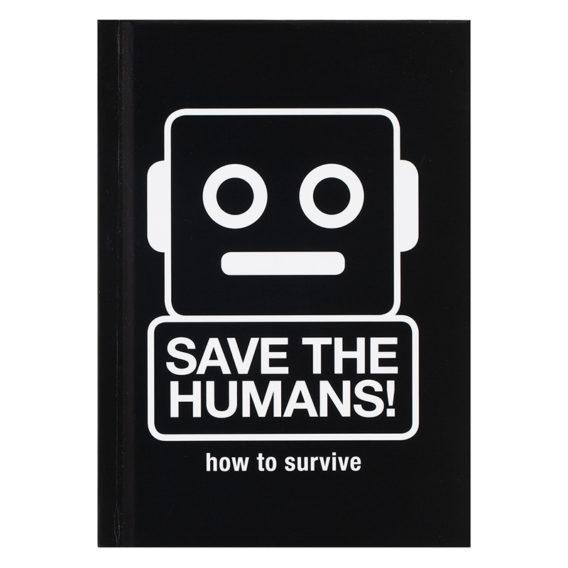 Mustassa kirjan kannessa valkoisella piirreetty robotti ja tekstiä