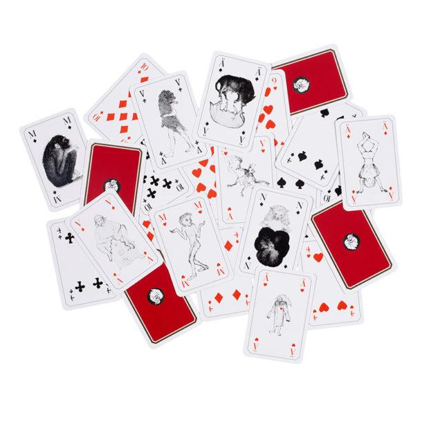 Korttipakan kortiti levällään