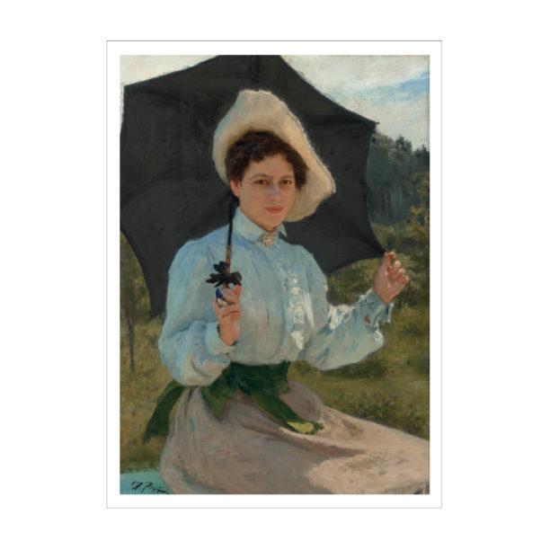 Nainen aurinkovarjon kanssa