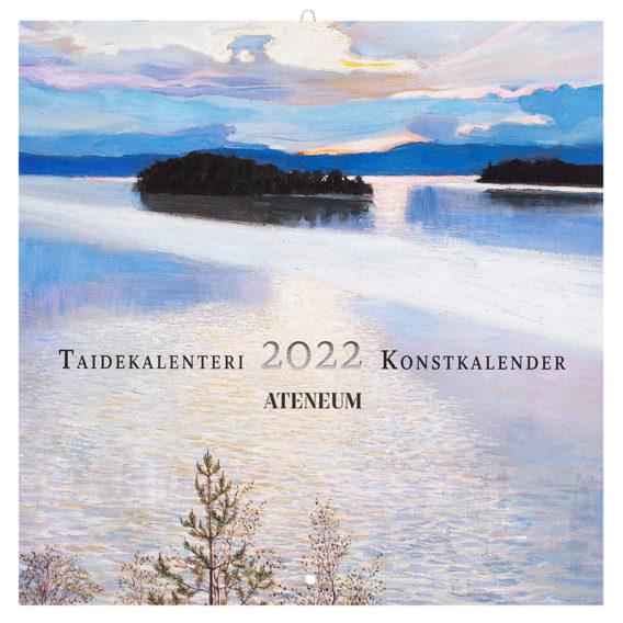 Seinäkalenterin kannessa sinisävyinen järvimaisema