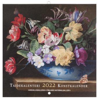 Seinäkalenterin kannessa värikäs kukka-asetelma