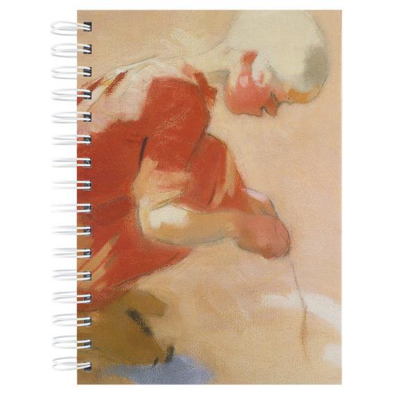 Muistikirjan kannessa kyykistynyt tyttö